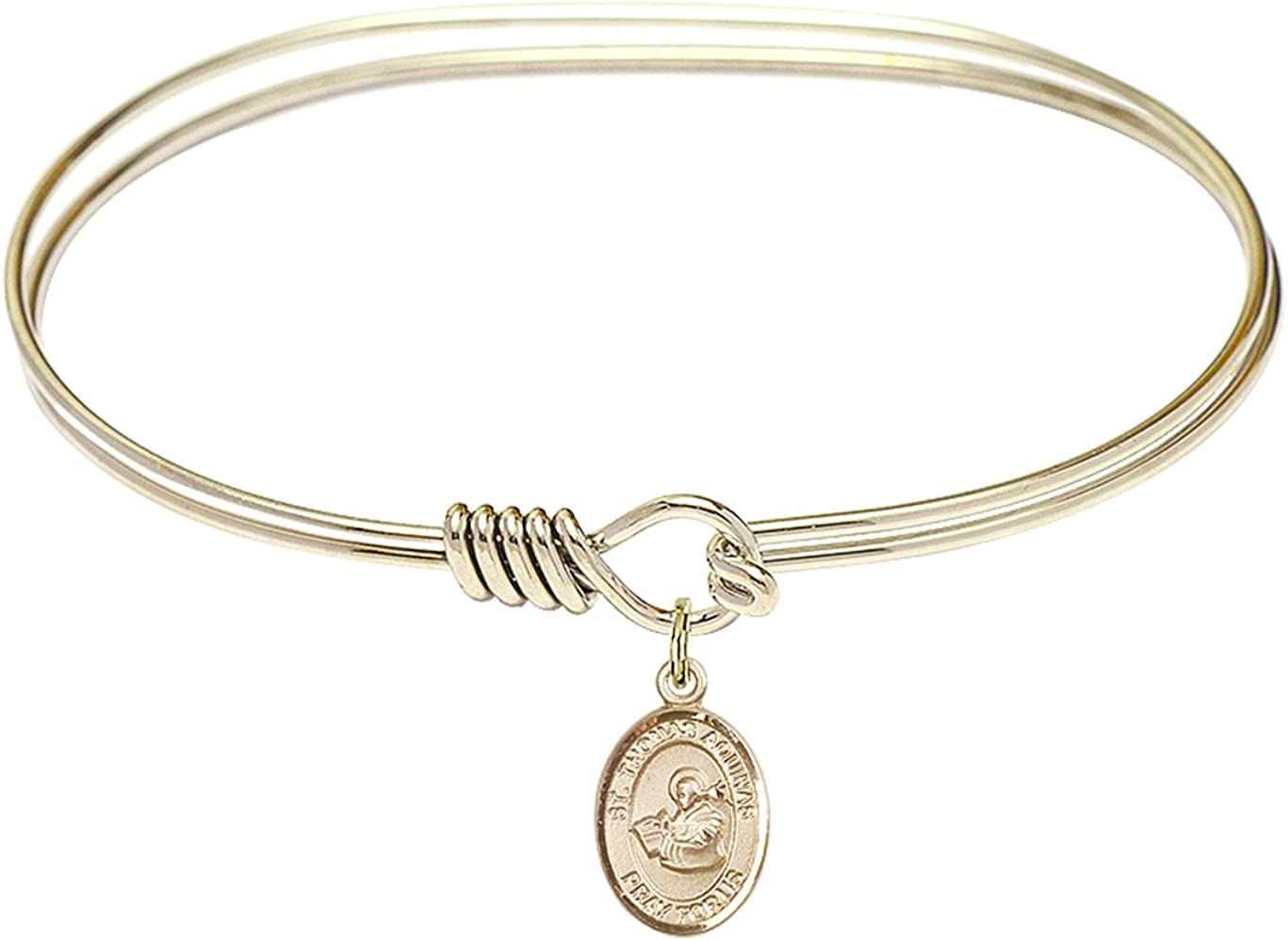 Thomas Aquinas Charm On A 7 1//4 Inch Oval Eye Hook Bangle Bracelet St