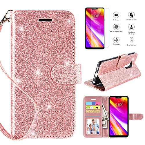 LG Fiesta 2 LTE/ LV7/LG X Charge/LG Fiesta LTE/LG X Power 2/LG K10 Power Wallet Case with [Screen Protector], Glitter Bling [Kickstand] Leather with [Magnetic Closure] and [Wrist Strap],Rosegold