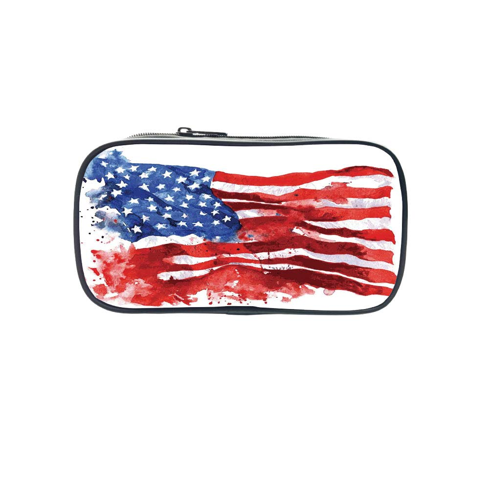 Customizable Pen Bag,American,Flag of America Watercolor Splash National Independence Symbol Abstract Art,Red Blue White,for Kids,3D Print Design