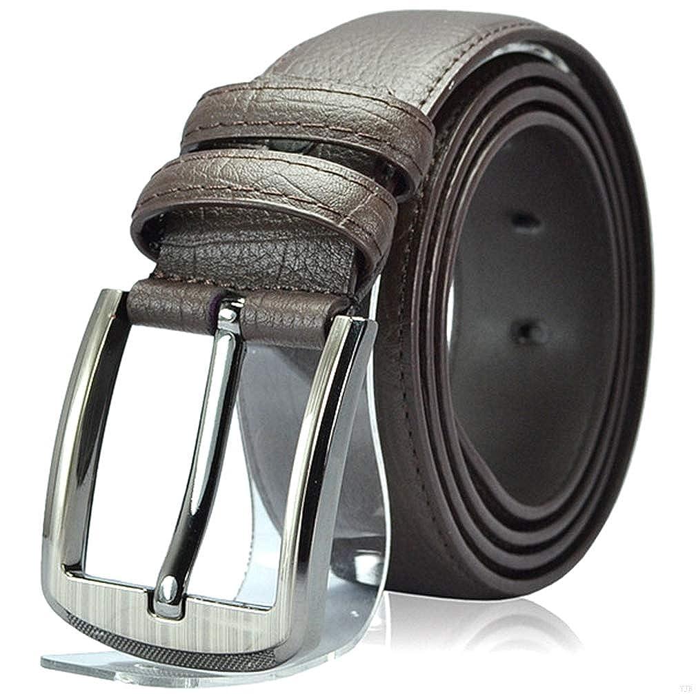 TJBGADIEMS Business Dress Leather Belt Men with Pin Buckle 110-130 CM MM54