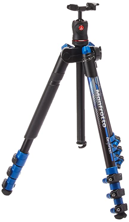Manfrotto Traveler BeFree Tripod with Ball Head - Blue (MKBFRA4BL-BH) Tabletop & Travel Tripods at amazon