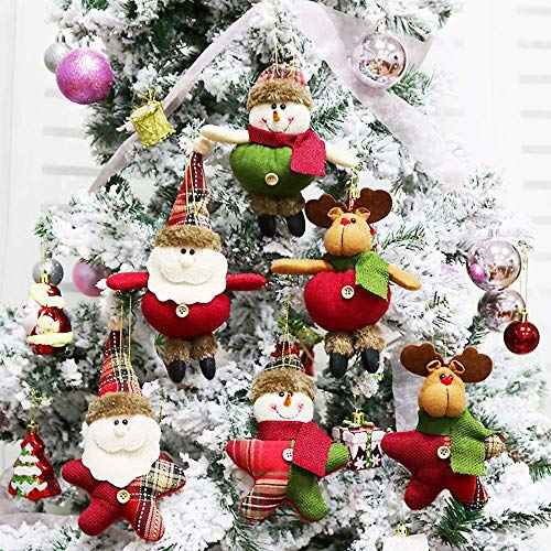 Aitey Christmas Plush Ornaments, Xmas Hanging Decoration Santa Clause Snowman Reindeer Doll for Christmas Tree Pendant Stocking Ball Bell Holiday Party Decor (6 Pack) ()