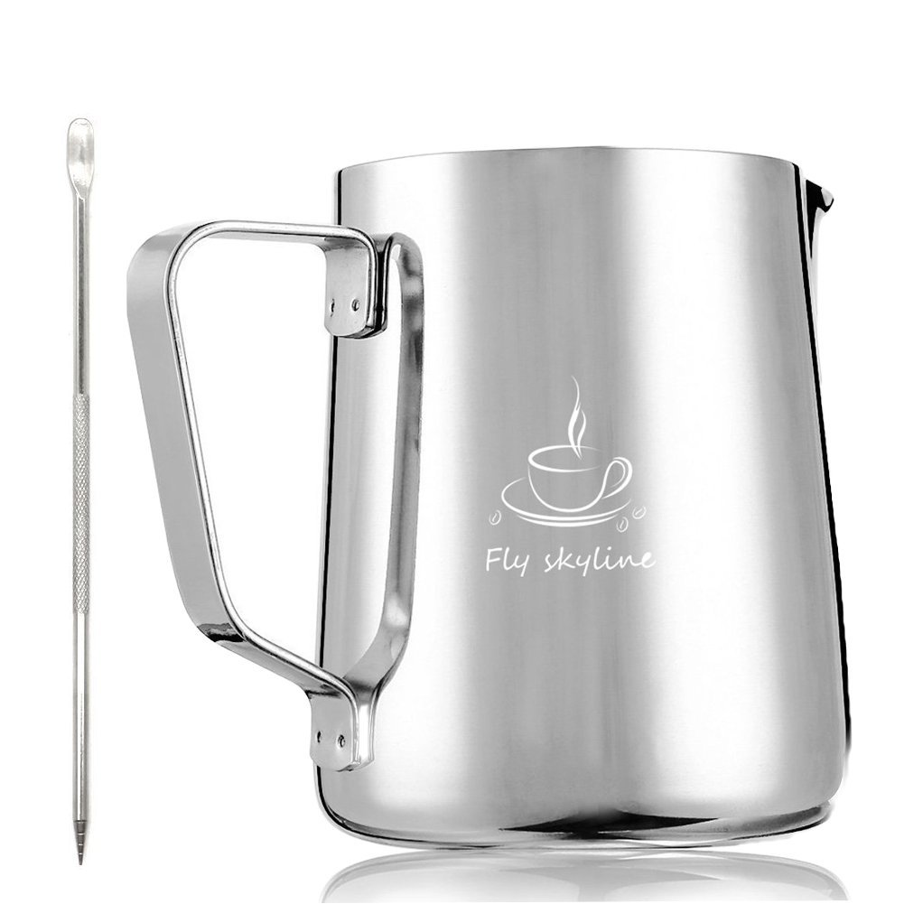 Milk Frothing Pitcher Stainless Steel Measurement Inside the frothing Cup with Latt Art Pen
