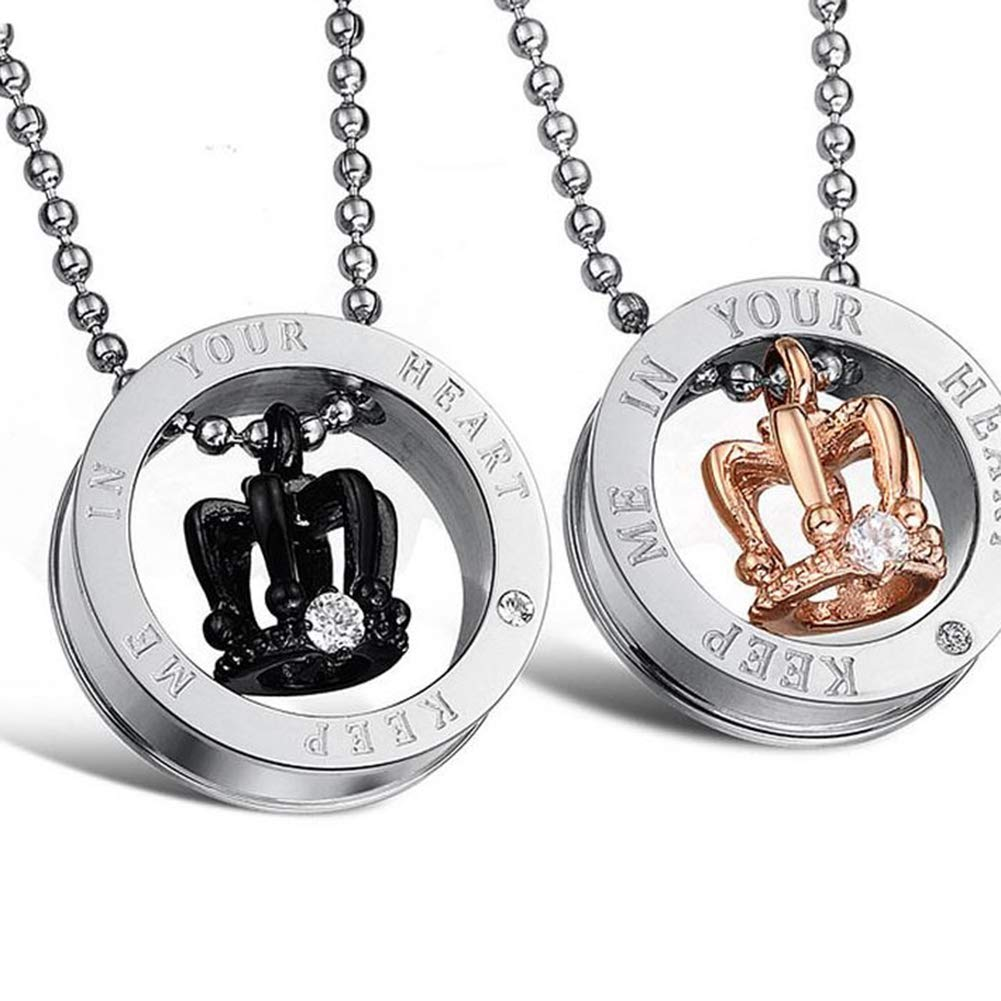 c39060df3b Amazon.com: JAJAFOOK 2pcs His & Hers Couples Gift Crown Pendant CZ Love  Necklace Set for Lover Valentine: Jewelry
