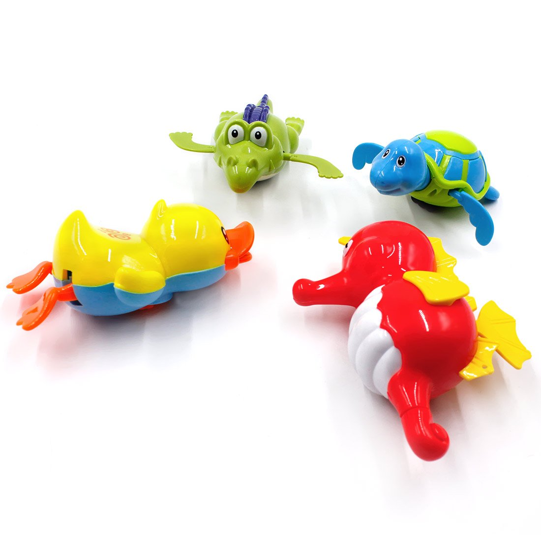 BEIHUI Swimming Water Wind Up Kids Baby Bath Toys Bathtub Tub Turtle Duck Clockwork Bath Toys Crocodile Hippocampus Floating Animal Toys for Toddlers Boys Girls, 4 Pack