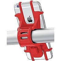 Fahrrad Telefonhalterung für Smartphones Kompatibel mit Straßen & Mountain-Bikes und Motorräder & Scooter für 4.5 Zoll bis 6.5 Zoll Display (Rot)