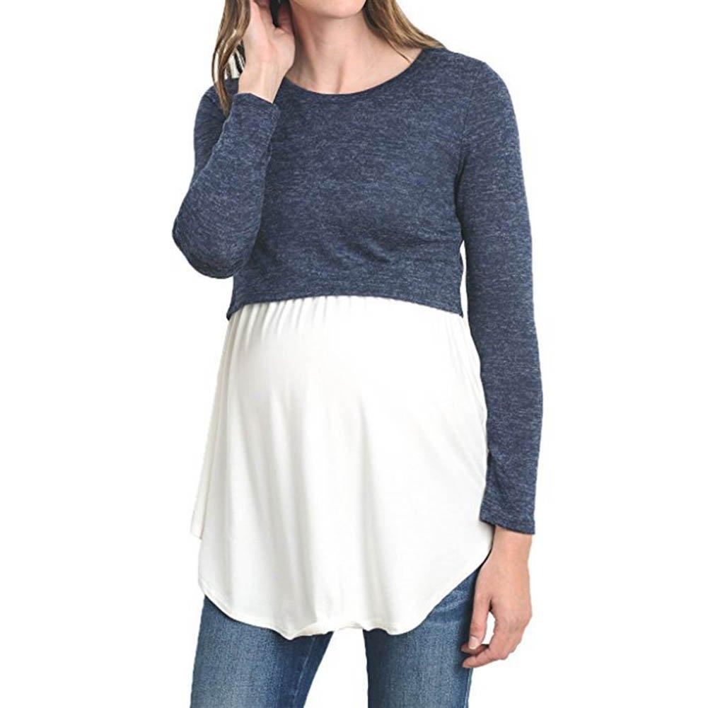 Meedot Umstandsmode Langarm Mutterschaft Tops Pflege Top Schwangerschaft Kleidung Stillen T-Shirt
