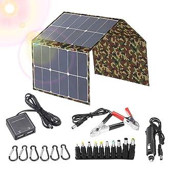 KKTECT Kit de cargador de batería de panel solar plegable de 120 vatios, carga de teléfonos, batería de automóvil de 12 V, computadoras portátiles, ...