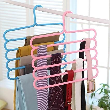 INOVERA (LABEL) 5 Layer Plastic Clothes Hanger (Set of 2), 32l x 1b x 33h cm (Assorted Colour)