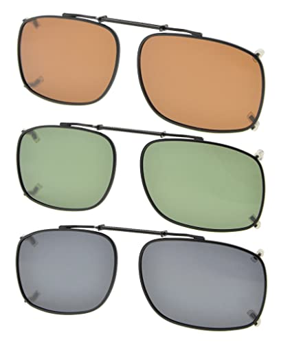 Eyekepper Grigio/Marrone/G15 Lenti 3-pack Clip-on Occhiali da Sole Polarizzati 52x36MM