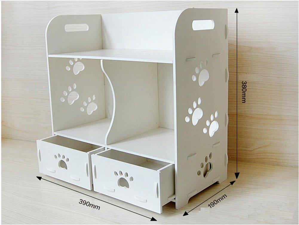 VERCART Carved Wood Panels Bathroom Cosmetic Storage Box Creative Desktop Storage Cabinet Finishing