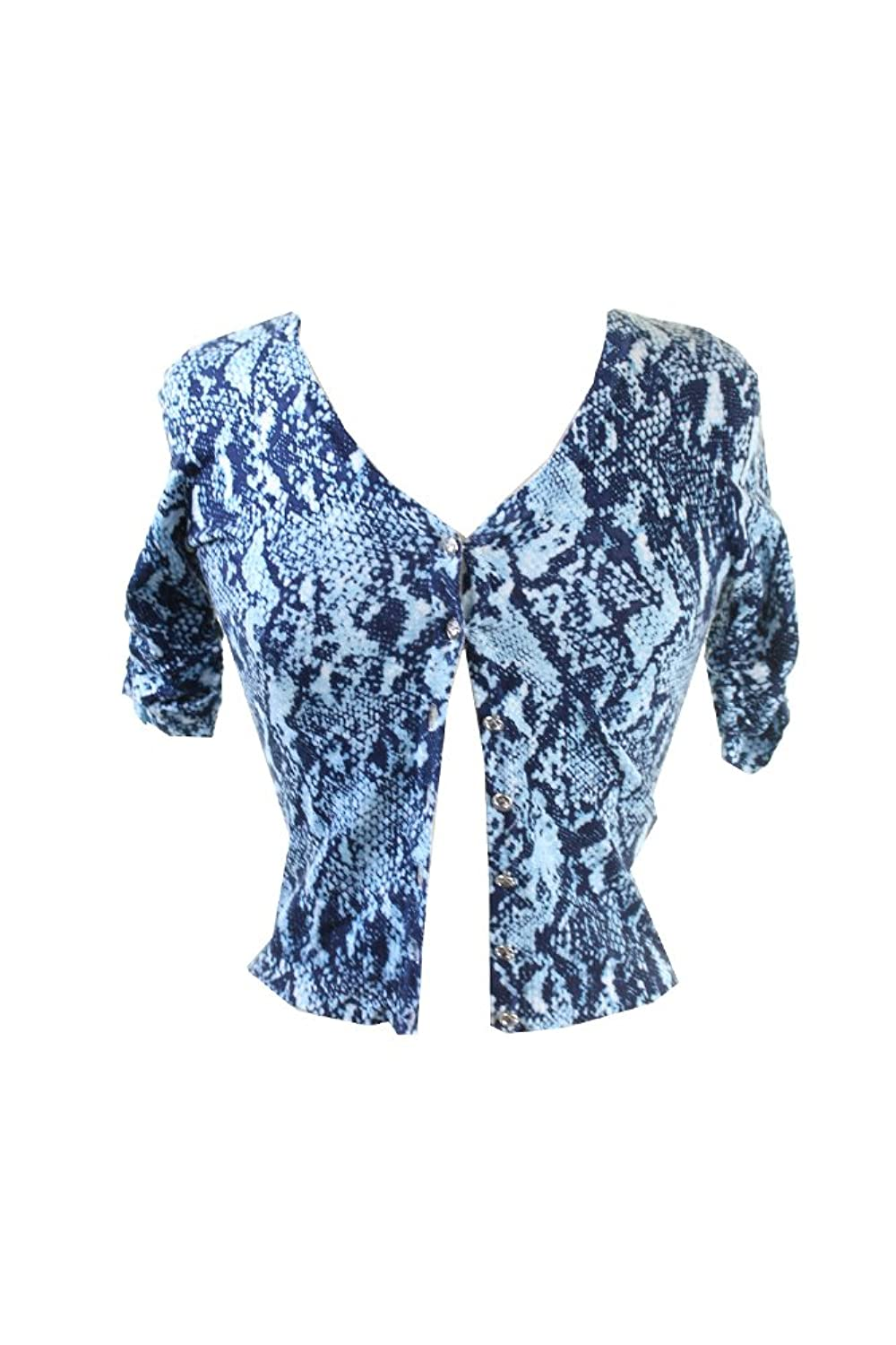 Inc International Concepts Petite Blue Snakeskin-Print Cropped Cardigan Petites