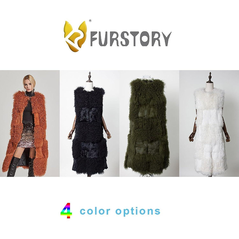 Women's Real Mongolian Lamb and Rabbit Fur Long Vest