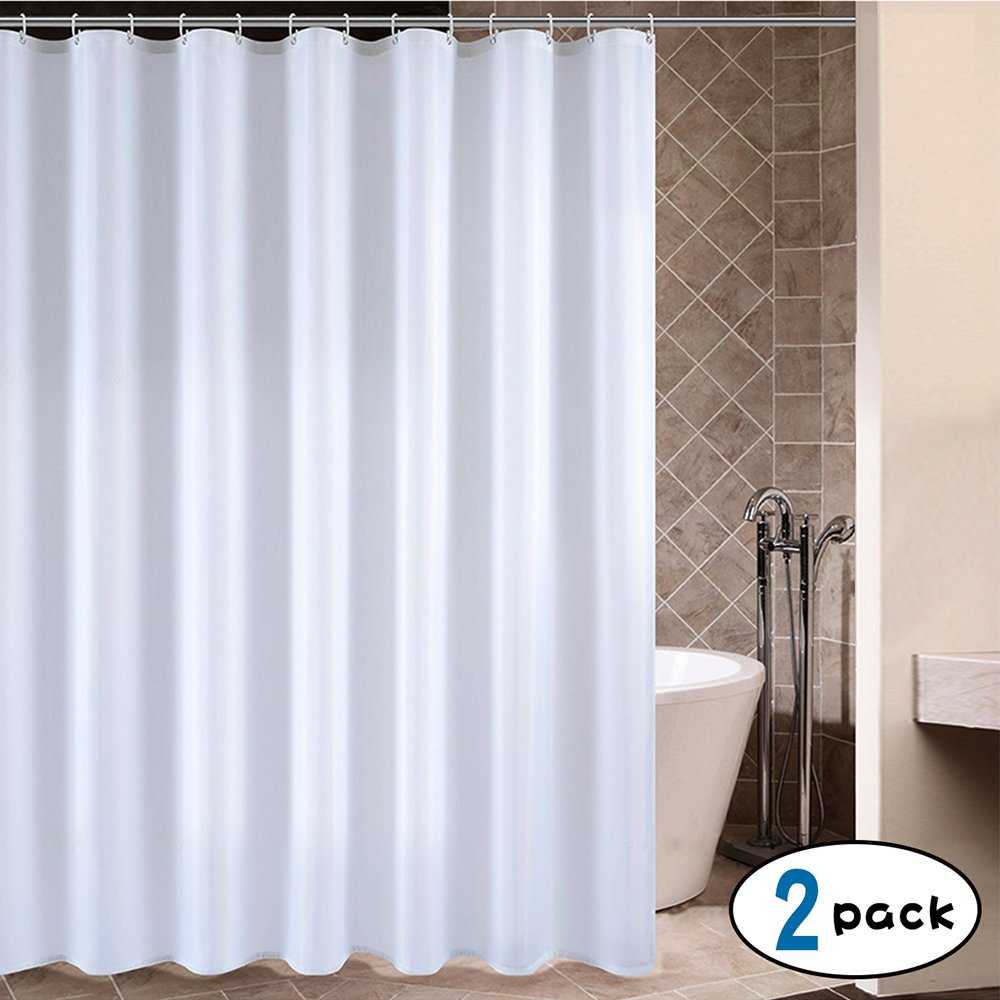CRW White Fabric Shower Curtain Liner Mildew Resistant for Bathroom Polyester Curtains with Hooks, 72