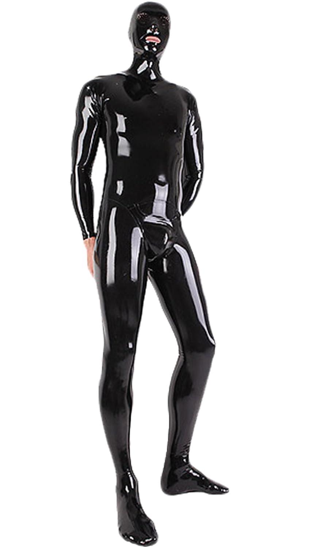 Amazon.com  AvaCostume Men s Black Latex Zentai Bodysuit Catsuit Without  Hands  Clothing 66f70b157