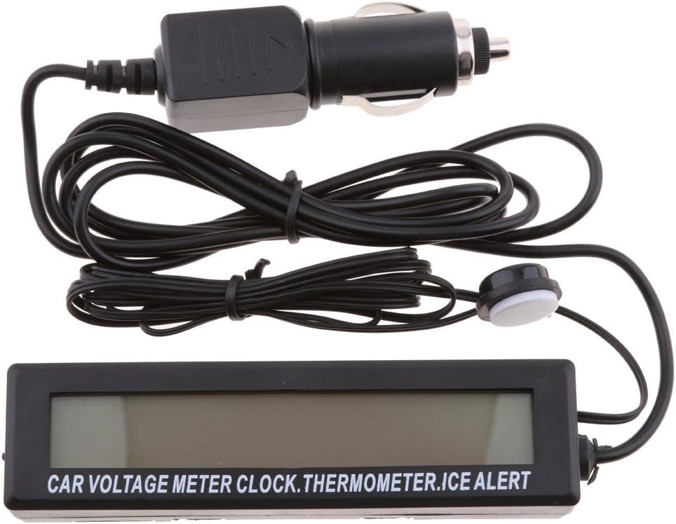 gazechimp Multi-Function 12V Voltmetro Auto Voltmetro Allarme Termometro Temperatura Orologio LCD Monitor Digitale Con Retroilluminazione Blu//Arancione