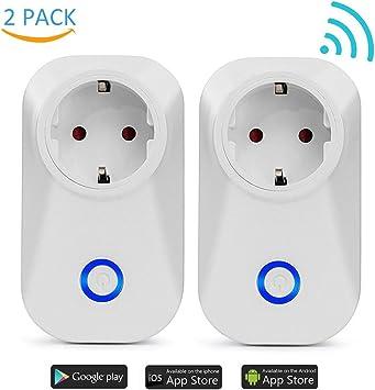 Enchufes Inalámbricos Inteligentes Wifi Enchufe, Interruptor Socket Wi-Fi con Control Remoto Inteligente Temporizador compatibles con Android e iOS Smartphone(EU Standard) Enchufe inteligente (2 pack): Amazon.es: Bricolaje y herramientas