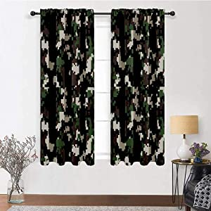 """Blackout Curtains and Drapes Camo Insulated Window Treatment Drapes Pixelated Pattern Digital Effect Modern Conceptual Camouflage Texture for Play Room Decor 2 Rod Pocket Panels, 42""""W x 54""""L"""