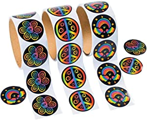 Fun Express Rolls of Rainbow Stickers - 100 Stickers Per Roll Novelty