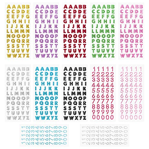 Meetory 12 Sheets Glitter Gift Alphabet Letter Stickers for Graduation Cap and Handicraft Art, Glitter Self Adhesive Alphabet Stickers ()