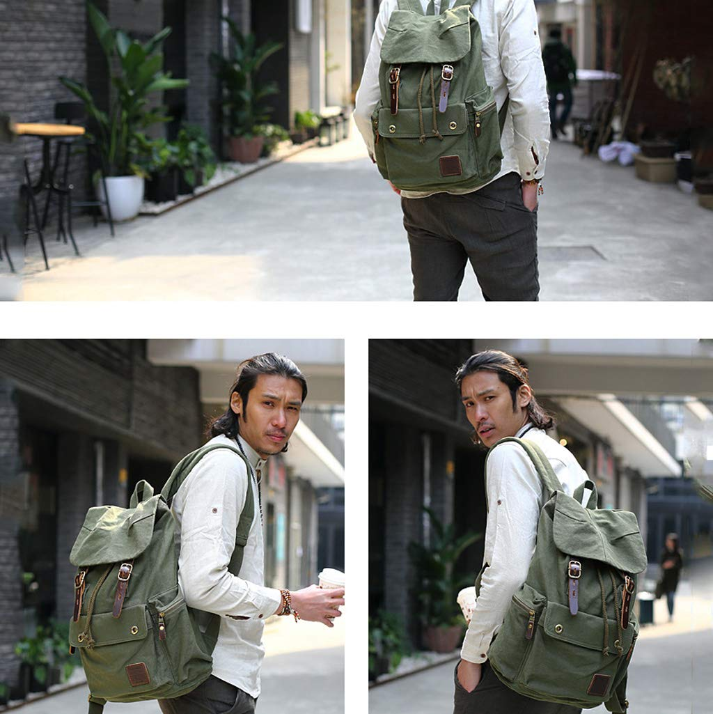 WCJ Retro Casual Canvas Bag Mens Travel Bag Mountaineering Bag Large Capacity Travel Backpack