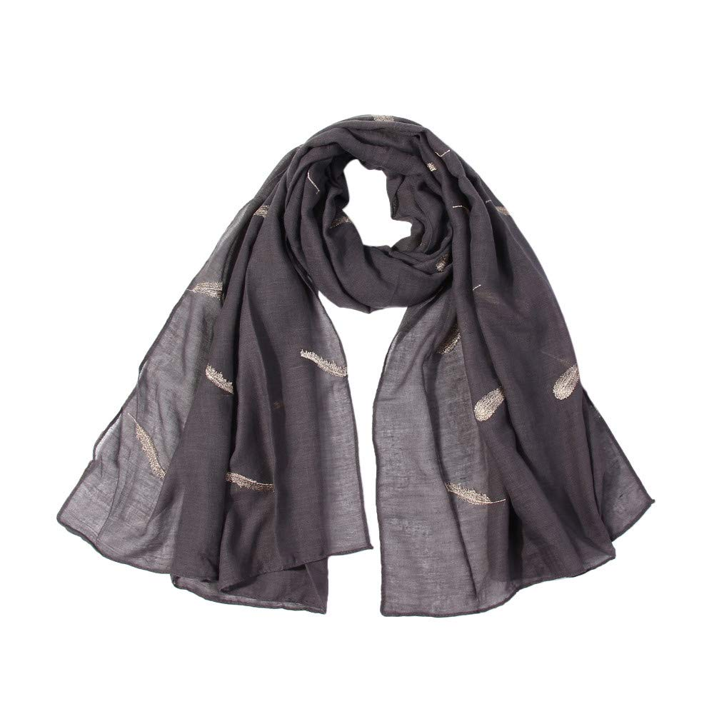 Lovewe Women Feather Embroidered Scarf,Soft Shawl,Long Scarf (Gray)