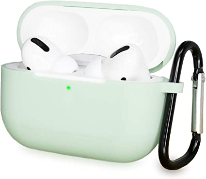 AirPods Pro Case, Suptaps Protective Charger Cover for Apple Airpods Pro (3rd Generation) - Premium Silicone Wireless Charging-Compatible, Visible Front LED with Metal Carabiner (Mint) best AirPods case