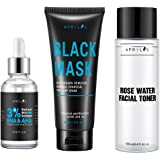 Aprilis Blackhead Remover Set, Scientific 3-Step Solution, Skin Exfoliant, Black Mask and Firming Facial Toner for Removing Blemishes & Blackheads, Radiant Skin Treatment, Birthday Gifts