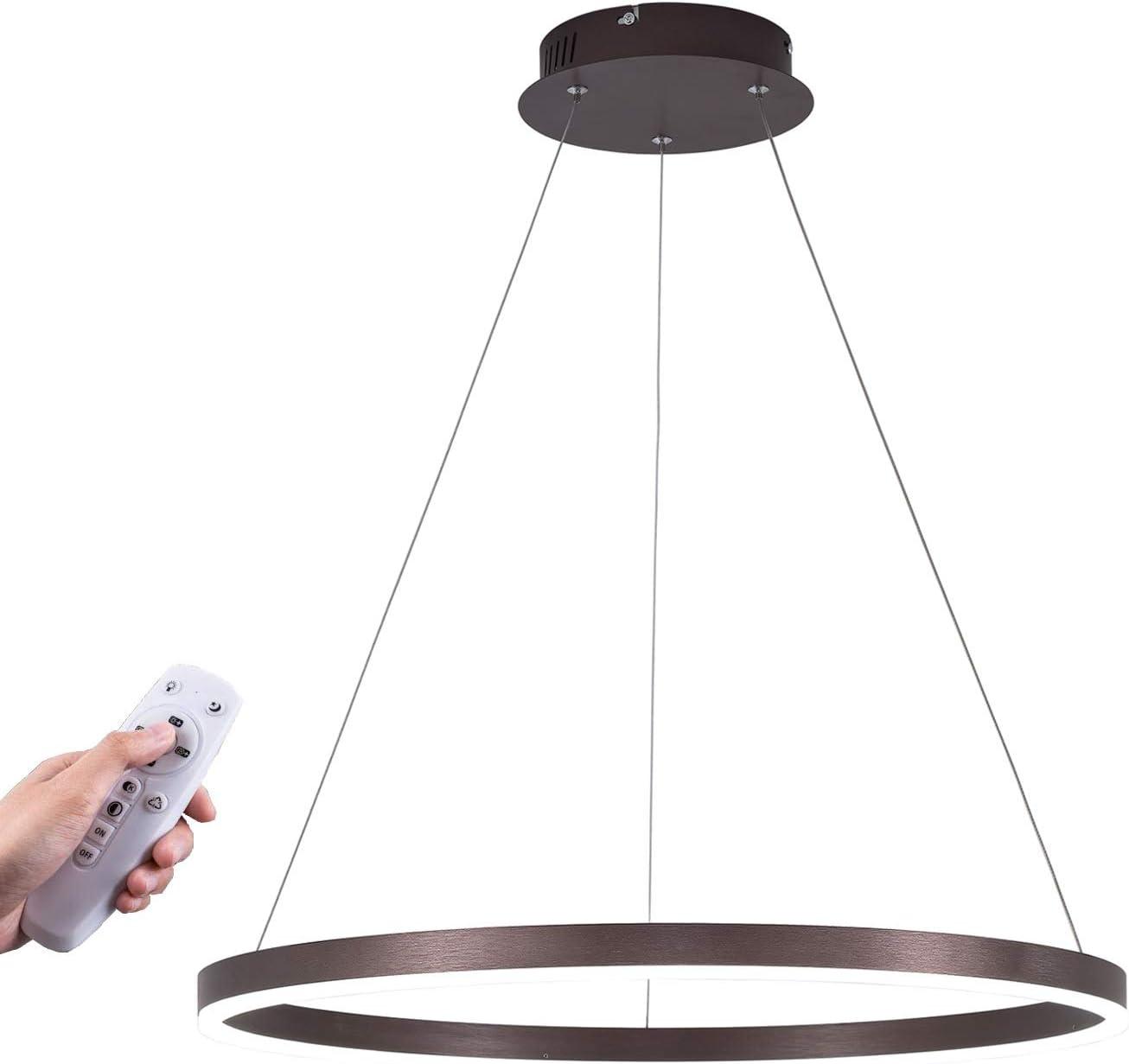 1 Licht Dimmable geführt Pendant Light, Kitchen Island Lighting Fixtures Dining Zimmer Chandeliers, Foyer Ceiling Hanging Light, Chrome Suspension 36W 5000K(Super Bright Natural White, mit Dimmer)