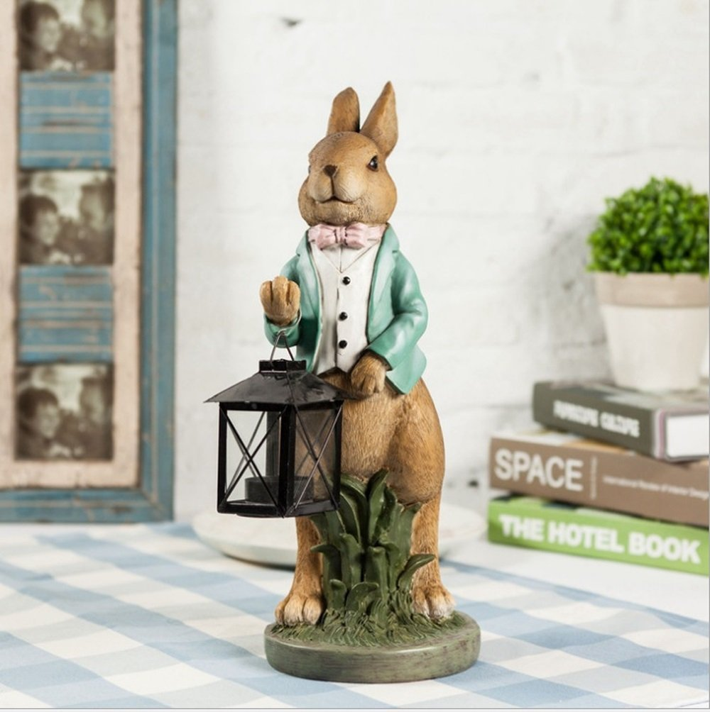 Bwlzsp 1 PCS American country retro creative soft resin crafts gifts ornaments rabbit lantern candlestick LU714740