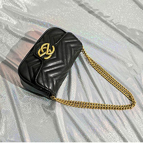 Street Bags V Evening Type Chain Shoulder Purse Mini Cross Bag Bag Body Fashion Classic 2018 Bag Gold Black1 OL Handbag Career UwCqxTOZWa