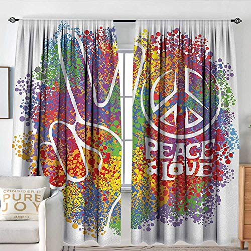 NUOMANAN Bathroom Curtains 70s Party,Hippie Peace and Love Symbol and Signs Two Fingers Pacifist Colorful Design Art,Multicolor,Drapes Thermal Insulated Panels Home décor 72