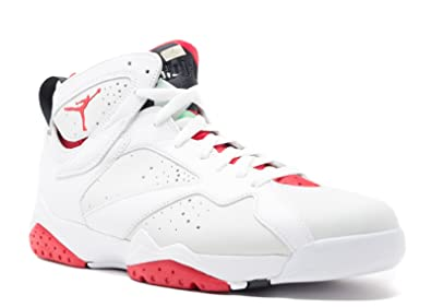 35bf39280591 Mens Air Jordan 7 Retro Hare White True Red-Light Silver Leather White True