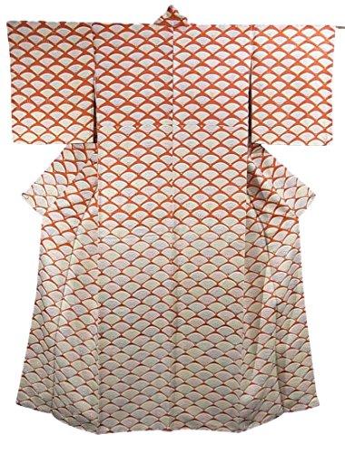 投げるハンディ大宇宙リサイクル 着物 付下小紋 正絹 袷 全面に扇文様 裄63cm 身丈164cm