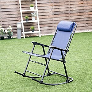 Goplus Folding Rocking Chair w/Headrest Outdoor Portable Zero Gravity Chair for Camping Fishing Beach (Blue)