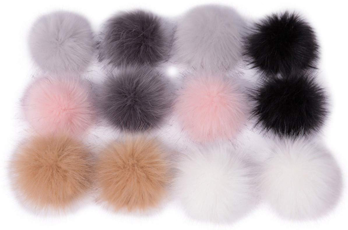 Pom pom Hat Beanie Sock Scarf Bag Shoe Faux Fur Fluffy Balls Raccoon Dog Pack 12