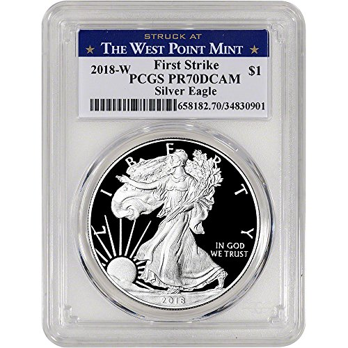 2018 W American Silver Eagle Proof (1 oz) First Strike West Point Label $1 PR70 PCGS DCAM