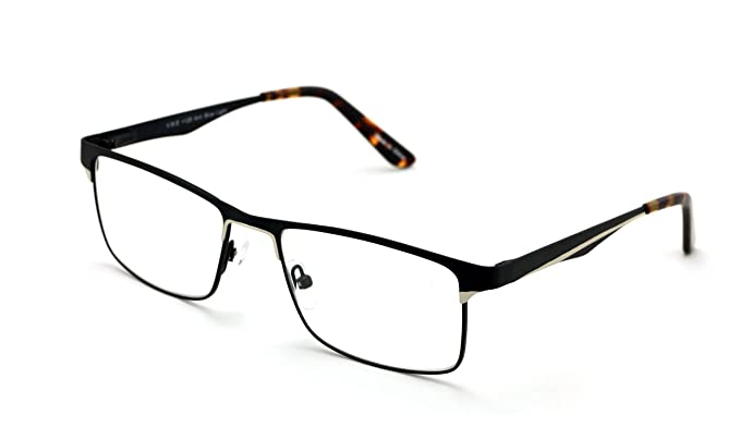 767429b047 Men Rectangular Stainless Steel Non-prescription Glasses Frame Clear Lens  Metal Eyeglasses - Wide Fitment