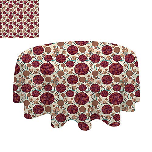 SATVSHOP Round Polyester Tablecloth tablecloth-40Inch-Most Home Decor.Geometric Circle Dynamic ing Spherical Disco Balls Dot and Strip Swirls Display Maroon Beige.