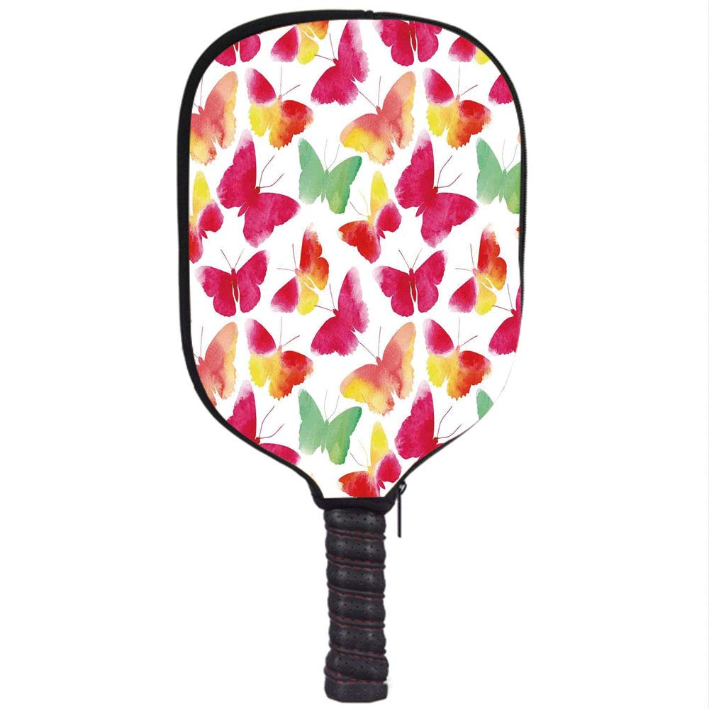 iPrint Neoprene Pickleball Paddle Racket Cover Case,Colorful Home Decor,Watercolor Butterflies with Large Colored Wings Spirit Animal Paint,Fuchsia Green ...