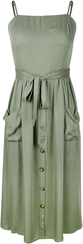 ZFQQ Vestido de Honda de Color Puro para Mujer Primavera/Verano 2020 Nueva Falda de conmutación de Temperamento