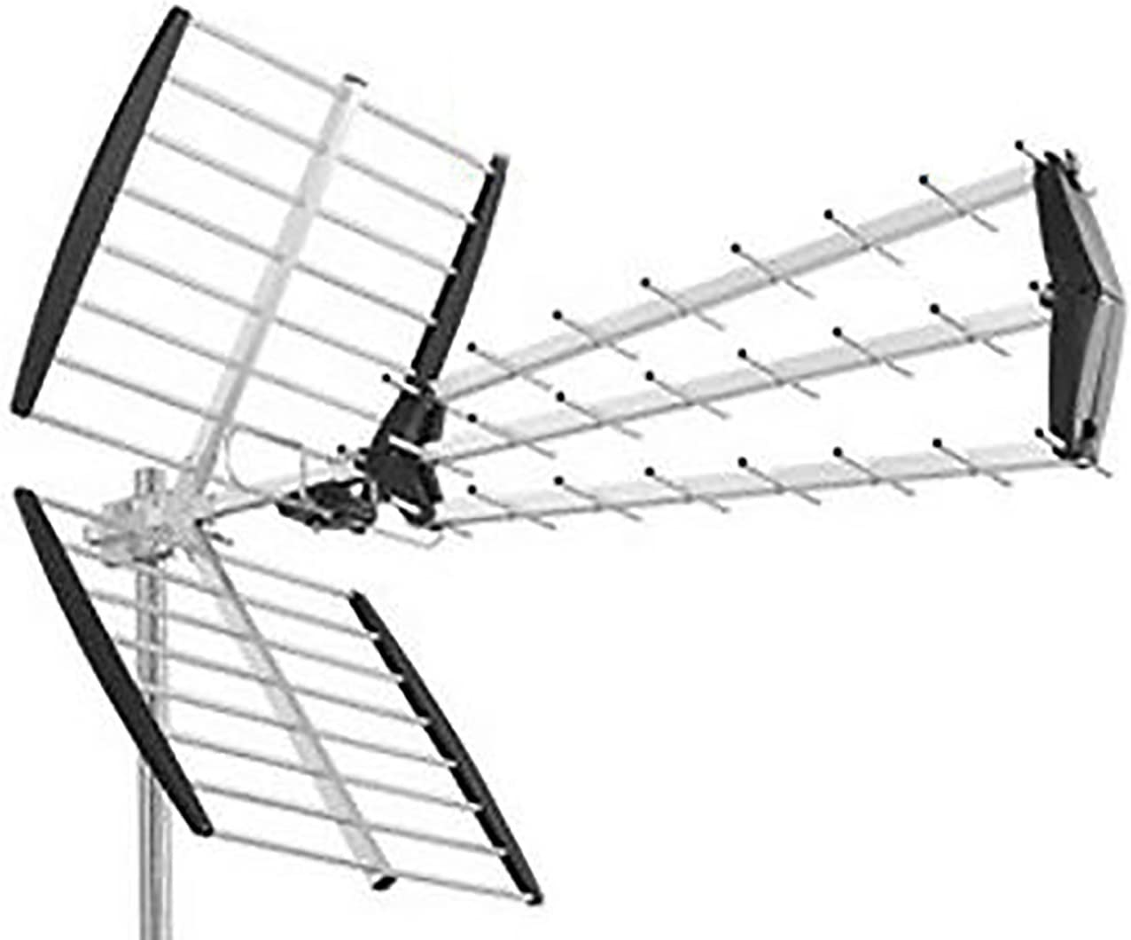 Antena de TV UHF DVB-T Digital Exterior 28 DB HD 43 Elementos ...