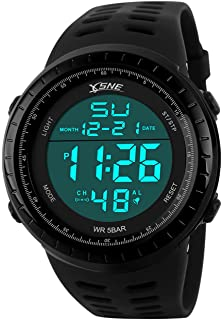 Digital Sports Watch Water Resistant Outdoor Easy Read Military Back Light Black Big Face Mens