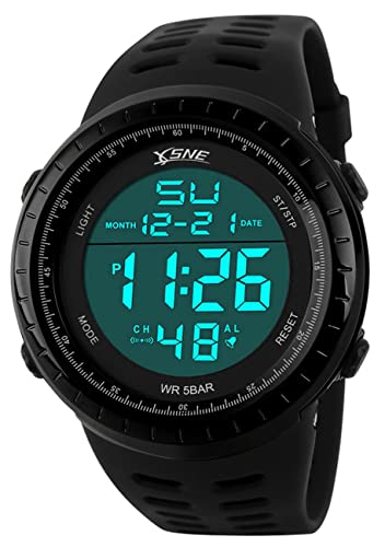 c188472c0 Digital Sports Watch Water Resistant Outdoor Easy Read Military Back Light  Black Big Face Men's (