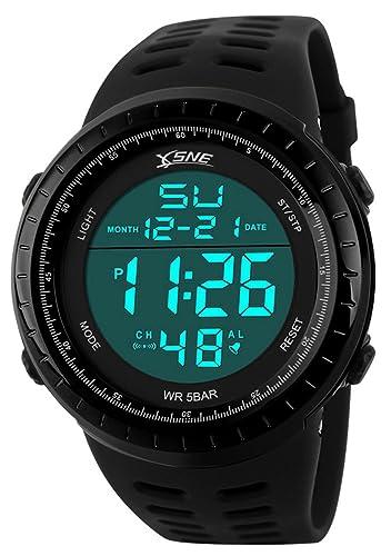 718da48bd Digital Sports Watch Water Resistant Outdoor Easy Read Military Back Light  Black Big Face Men's (