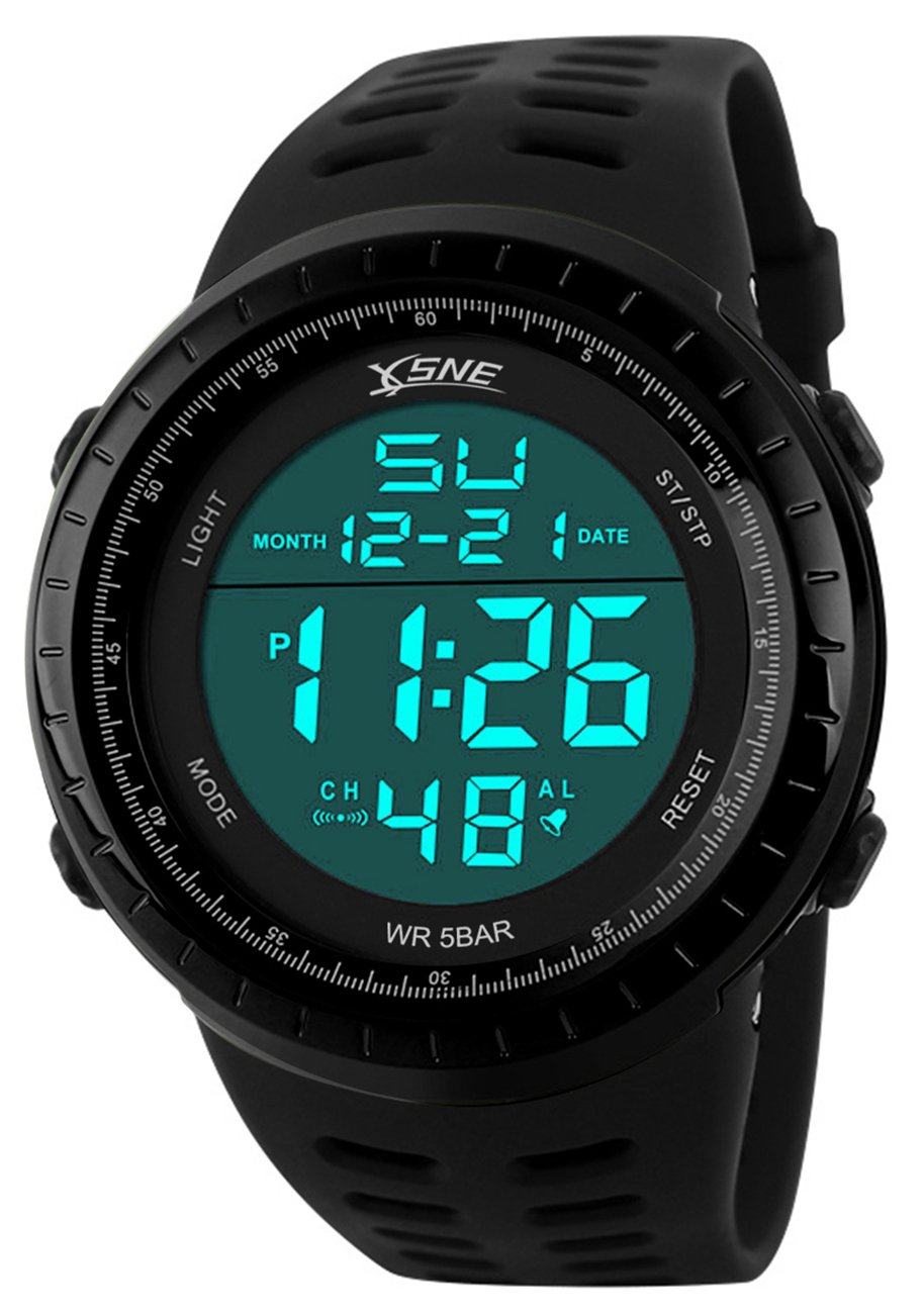 Digital Sports Watch Water Resistant Outdoor Easy Read Military Back Light Black Big Face Men's 1167 (Black)