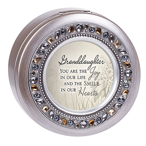 Cottage Garden Granddaughter the Joy and Smile Brushed Silver Round Jeweled Music Box Plays Tune Wonderful World