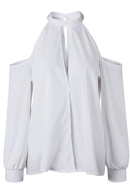 Manga Larga Hombros al Descubierto Hombros al Descubiertos Aire Cuello Alto  Subido Choker Escote Triangular en V Blusón Blusa Camisa Shirt T-Shirt  Camiseta ... 88d00b87de84