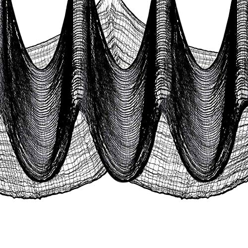 ZAMTAC 10.9 Yards X 30'' Black Creepy Cloth Spooky Halloween Decoration Ideal for Doors, Windows, Ledges, Overhangs and Gates Decor Bla