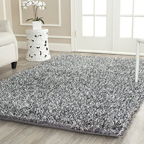 (Safavieh New Orleans Shag Collection SG531-7612 Platinum and Ivory Polyester Area Rug (8' x 10'))